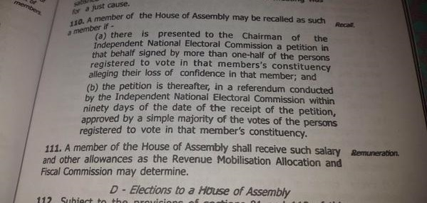 Nigerian Constitution: Our Power Of Recall